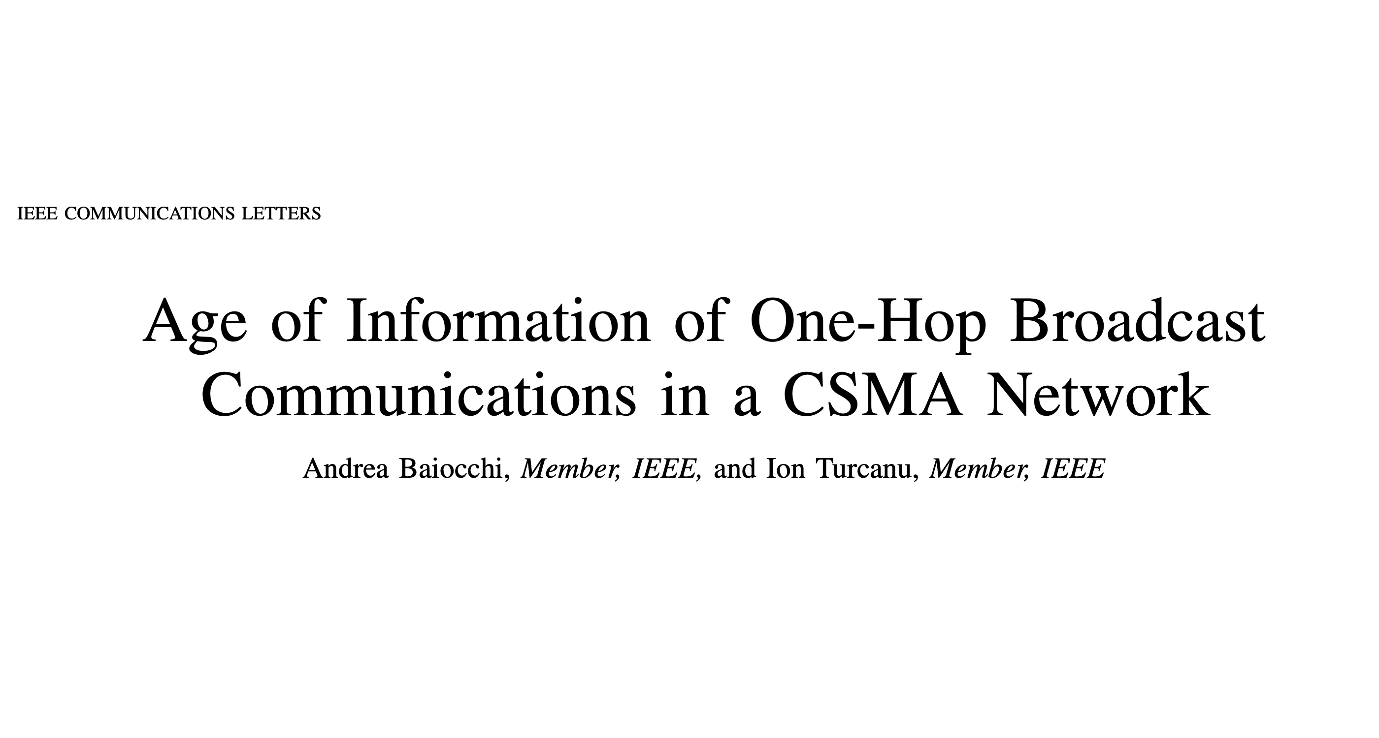 New IEEE Communications Letters article